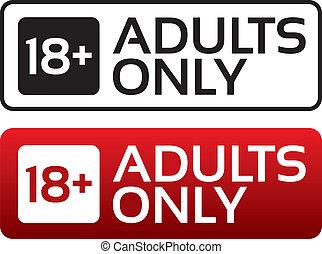 adults jedyny, zadowolenie, button., wiek, granica, stamp.