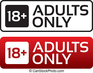 Adults only content button. Age limit stamp. - Adults only...