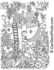 adults., page., énfasis, colorido, casa, zen, ilustración,...