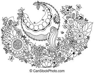 adults., page., stress, kleuren, zen, illustratie, flowers., boek, vector, schommel, anti, meisje, knoop