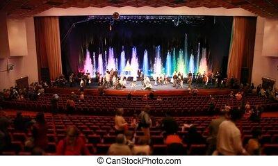 adults, pokaz, krzesła, po, do góry, wschody, dzieci, ...