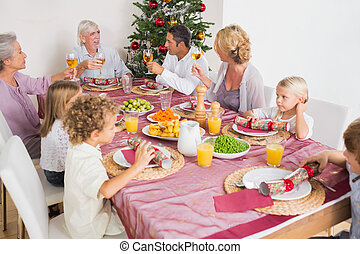Adults raising their glasses at christmas dinner