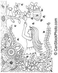 adults., stress, kleuren, doodle, zen, illustratie, tekening, flowers., pear., vector, white., vrouw, anti, meisje, knoop, boek, black