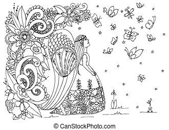 adults., stress, kleuren, engel, drawing., doodle, zen, illustratie, flowers., vector, anti, white., zwart meisje, knoop, boek