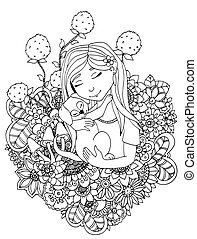 adults., stress, kleuren, exercise., drawing., doodle, illustratie, flowers., vector, anti, white., meditative, kind, zwart meisje, puppy, boek