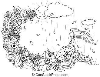 adults., stress, kleuren, zittende , doodle, zen, appeltjes , illustratie, flowers., vector, anti, rain., zwart meisje, knoop, boek, white.