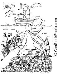 adults., stressa, kolorit, drawing., klotter, hund, illustration, ship., bok, vektor, white., möta, anti, flicka, zentangl, svart