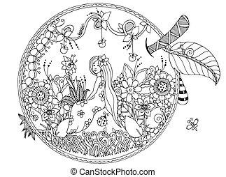 adults., tensão, coloração, sentando, apple., doodle, zen, ilustração, flowers., vetorial, anti, white., menina preta, embaraçar, livro