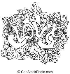 adults., tension, coloration, amour, drawing., griffonnage, illustration, flowers., vecteur, anti, white., méditatif, exercises., mot, livre, zentangl, noir