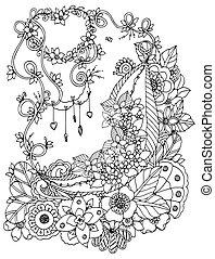 adults., tension, coloration, zentnagl, frame., drawing., griffonnage, illustration, vecteur, anti, white., floral, noir, livre