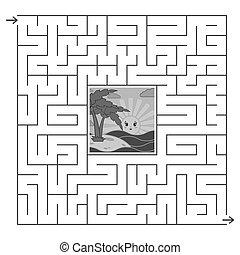 adults., wohnung, quadrat, nützlich, zentrieren, figur, labyrinth., farbe, interessant, abstrakt, freigestellt, karikatur, einfache , spiel, vektor, schwarz, hintergrund., weißes, kinder, illustration.