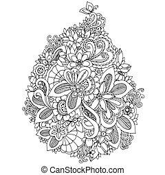 adults., zentangl, 宝石類, 着色, 春, いたずら書き, ストレス, イラスト, 花, flowers., ベクトル, 反, white., wedding., 黒, 本, カード