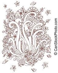adults., zentangl, 宝石類, 着色, 春, ブラウン, いたずら書き, ストレス, イラスト, 花, flowers., ベクトル, 反, white., wedding., 本, カード