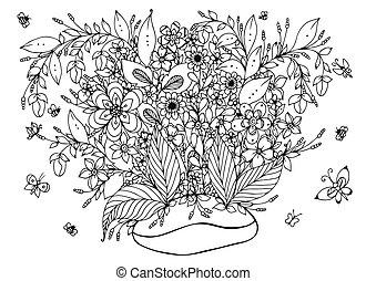 adults., zentangl, jardim, coloração, café, doodle, nature., café, ilustração, arte, tensão, flowers., livro, anti, feijões, pretas, branca, vetorial, borboleta