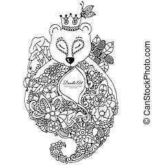 adults., zentangl, stress, kleuren, frame., drawing., doodle, beer, bloemen, vector, anti, illustratie, meditative, exercises., black , boek, white.