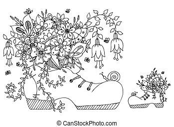 adults., zentangl, tensão, coloração, arte, primavera, vetorial, ilustração, flowers., livro, sapato preto, doodles, laces., anti, florescendo, borboleta, verão, white.