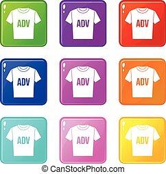adv, t-shirt, satz, druck, 9