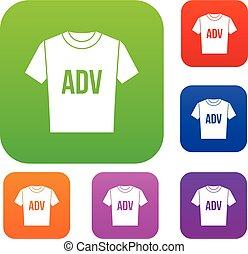adv, t-shirt, satz, druck, sammlung