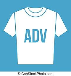 adv, t-shirt, weißes, druck, ikone