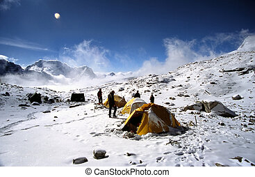Advance base camp - ABC or Advance Base Camp, high in the...