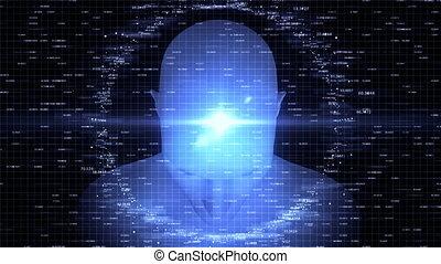 Advanced Artificial Intelligence. 4K UHD animation. Seamless loop