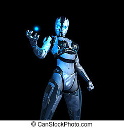 advanced cyborg future soldier holding a charge of energy