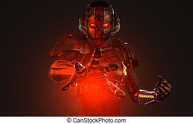 Advanced cyborg soldier - quality 3d illustration of a...