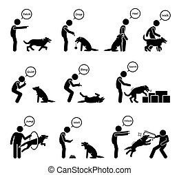 Advanced dog commands and behavioral training icons set.