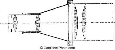 Advanced optical system, vintage engraving.
