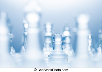 Advanced pawn. - A conceptual photo of a transparent pawn...