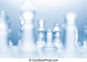 Advanced pawn. - A conceptual photo of a transparent pawn...