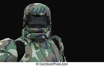 Advanced super soldier - 3d render of a advanced super...