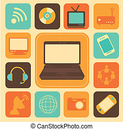 advanced technology over cream background vector...