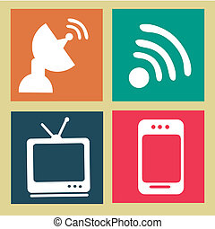 advanced technology over beige background vector...