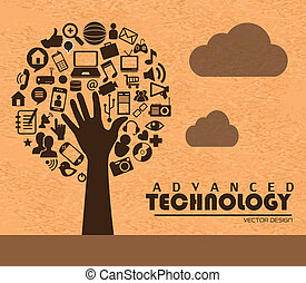 advanced technology over pink background vector illustration