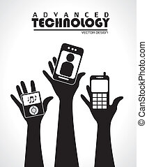 advanced technology over gray background vector illustration...