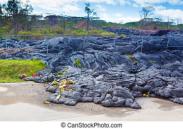 Advancing lava in town