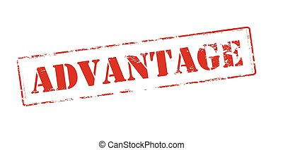 Rubber stamp with word advantage inside, vector illustration