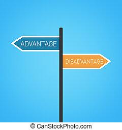 Advantage vs disadvantage choice road sign concept, flat...