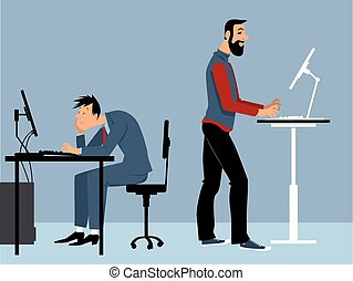 Advantages of a standing desk - Two man working at the...