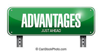 advantages, ontwerp, straat, illustratie, meldingsbord