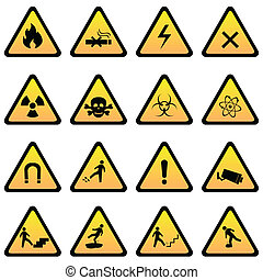 advarsel, og, fare, tegn