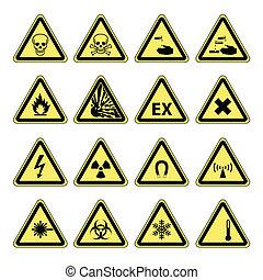 advarsel, sundhed, sikkerhed, hazard, og
