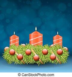 advenimiento, guirnalda, de, ramitas, con, rojo, velas, y, vario, ornamentos