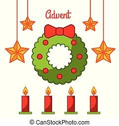 advenimiento, guirnalda, estrella, velas, decoración, celebración