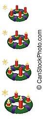 advenimiento, guirnalda, uno, dos, tres, cuatro, abrasador, velas, navidad