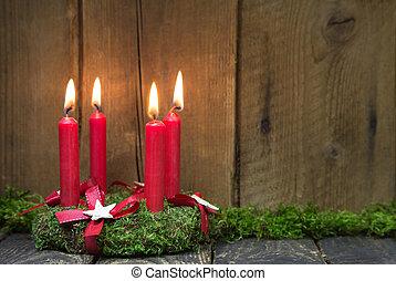 advenimiento, o, corona de navidad, con, cuatro, rojo, cera,...