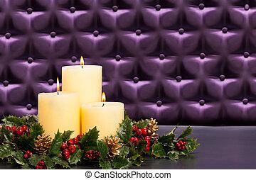 advent, blumengesteck, mit, brennender, kerzen