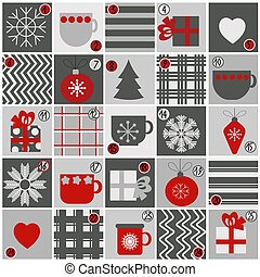 Advent calendar for Christmas in a flat style in gray and red colors, holiday attributes and symbols in the form of beautiful cups, decor, gifts and patterns