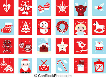 Christmas icons and design elements - red and blue. Vector cartoon Illustration.